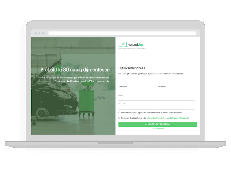 autoszerviz program regisztracio
