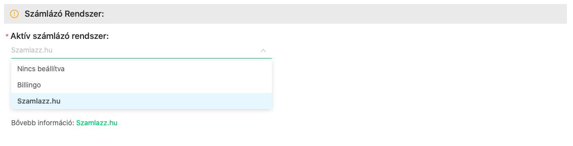 Számlázz.hu profil kiválasztása